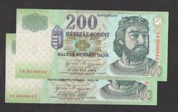 """200 forint  2003 """"FB"""".  2 db sorszám követő, 42, 43-as!!  Ritka!! Tökéletes UNC!!"""
