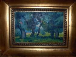 Novotny Emil festménye:Nyárfaliget a Tiszánál c.