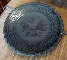 Csabai L . HMV vásárhelyi madaras fekete kerámia falitányér  20.5 cm