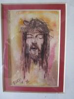 BARSI FERENC : KRISZTUS FEJ JELZETT FESTMÉNY TERVEZETT 1995 + KERET