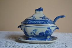 Különleges kék-fehér Jelzett Kínai Szószos Porcelán Szett kanállal, fedéllel