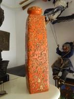 Retro kézműves jelzett narancssárga iparművészeti váza