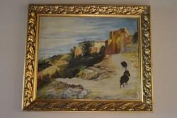 Közép-keleteti tájat ábrázoló nagyméretű Olajfestmény vásznon keretben