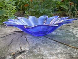 Kék üveg kínáló, asztalközép