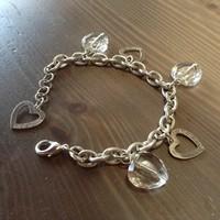 Svéd SNÖ márkájú bizsu karkötő szív kristályokkal