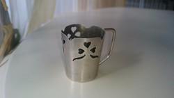 Ezüst kis pohárka áttört díszítéssel. 800- as diannás.
