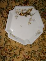 Antik Schlaggenwald pillangós porcelán köretes tál
