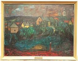 Fenyő Andor Endre (1904-1971) Barna felhők a falu felett.c.olajfestm 86x66cm Eredeti Garanciával !!!