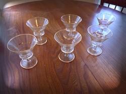 Koktélos pohár készlet arany szegéllyel díszített