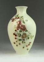 0N646 Zsolnay vajszínű virágos díszváza 14 cm
