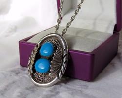 AKCIÓ! Gyönyörű ezüst medál/bross türkizes díszítéssel