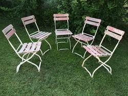 Régi fémvázas kerti szék retro fém összecsukható kerti bútor