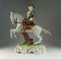 0N523 Régi UNTERWEISSBACH porcelán lovas szobor