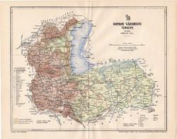 Sopron vármegye térkép 1894 II., XIX. századi, eredeti, megye, régi, antik, Magyarország