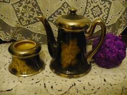 Kávékiöntő és cukortartó ezüst széllel és sárga rózsával