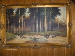 Nagyméretű jelzett festmény