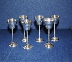 Antik ezüst talpas pohár 6 db