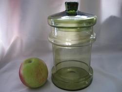 Zöld üveg fedeles tartó