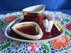 4 részes Hollóházi porcelán dohányzó készlet: tálka, hamutál, cigaretta tartó, csikk elnyomó cicával