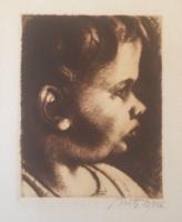 Uitz Béla: Kislány fej, rézkarc (hidegtű)