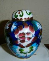 Rekesz (Cloissoné) zománc fedeles váza