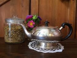 Ezüstözött, kézzel metszett, angol jelzett teáskanna