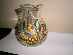 Kézzel festett üveg kancsó
