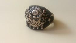 Ezüst pecsétgyűrű 925 ös, fekete kopásálló bevonattal.(nagyméretű)
