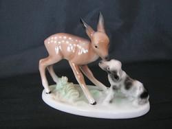 Unterweissbach porcelán őzike kutyával