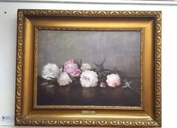 Szikszay Ferenc: Virág csendélet olaj vászon festmény, aranyozott keretben