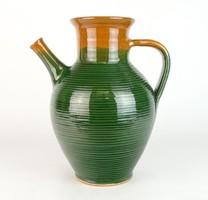 0N715 Nagy méretű zöld mázas kerámia kanta 28 cm