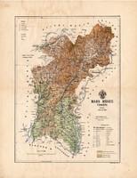 Bars megye térkép 1888, Magyarország, vármegye, atlasz, Kogutowicz Manó, 43 x 56 cm, eredeti