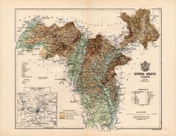 Nyitra megye térkép 1887, Magyarország, vármegye, atlasz, Kogutowicz Manó, 43 x 56 cm, eredeti