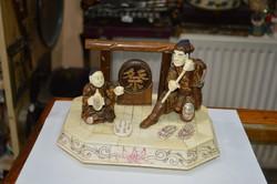 Kínai csont és fa faragás páros figura