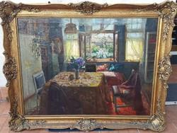 Bükkerti Mariska / Szobabelső kitárt ablakokkal