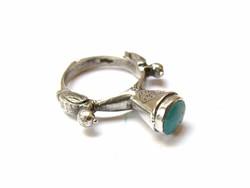 Nyugat-Himalájai türkíz köves ezüst gyűrű.