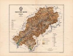 Trencsén megye térkép 1886, Magyarország, vármegye, atlasz, Kogutowicz Manó, 43 x 56 cm, eredeti