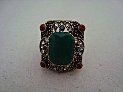 Török kézműves ezüst-bronz gyűrű smaragd-rubin