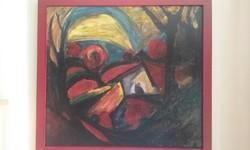 Parragh Emil jelzéssel: Expresszív táj 1960.