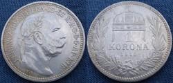 Ferenc József  1 korona  1915  Ag ezüst  (arany petina)