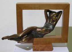 """Czobor Sándor """"Álmodozó"""" c. bronz kisplasztikája certifikációval és ingyen postával eladó"""