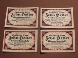 4db nyomdatiszta 10 Heller 1920