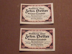 2 db nyomdatiszta 10 Heller 1920