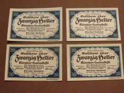 4 db nyomdatiszta 20 Heller 1920