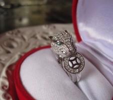 Exkluzív! Cartier leopárdot idéző fehéraranyozott ezüst gyűrű