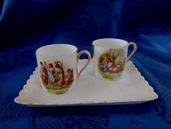 Gyönyörű számozott 2db kávéscsésze tálcával      (1085)
