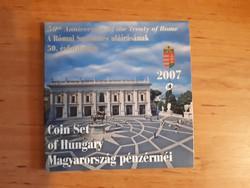2007. évi Forint forgalmi sor (Római Szerződés 50. évfordulója) + 50 Forintos emlékveret PROOF