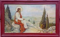 Jézus az olajfák hegyén, olajfestmény szignóval