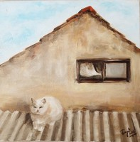Kapolcsi háztető-Eredeti olaj,vászon festmény, közvetlen a művésztől!