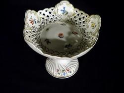 Q255 Antik Fischer Emil porcelán áttört kínáló